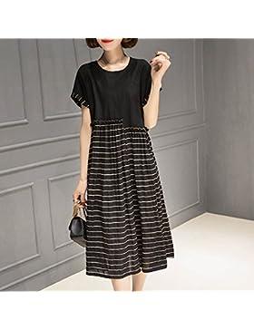 La versión coreana de la cebra falda falda,una costura de moda XXL,negro
