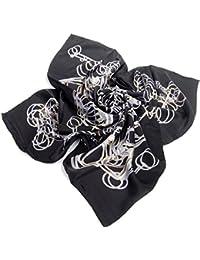 Nella-Mode Hochwertiges SEIDENTUCH in elegantem Design, Hauptfarben: Schwarz Silber Tuch aus 100% Seide, 85x85 cm, Handrolliert