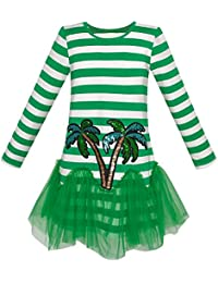 Sunny Fashion Girls Dress Green Coconut Tree Stripe Drop Waist Tutu Age 5-12 Years