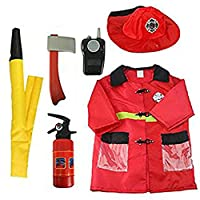 Biback Firefighter Role Play Costume Outfit Fireman Dress Up - Pretend Role Play Kit Set for Ages 3-6(6 PCS)