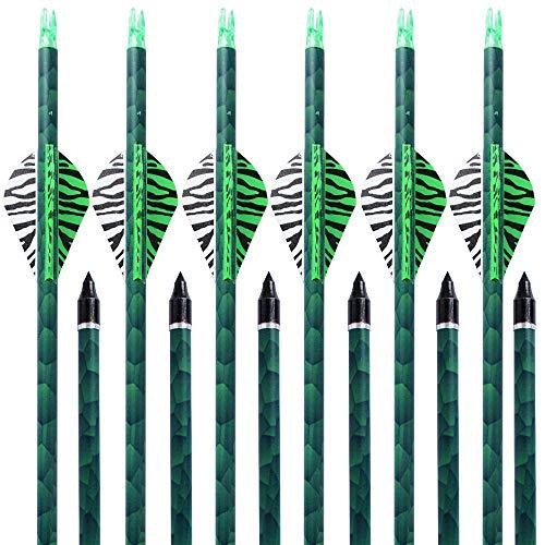 MEJOSER Bogenpfeile Carbon 30 Zoll für Bogenschießen mit Easton 2 Zoll Vanes Powerflight Jagdpfeile für Compoundbogen Recurvebogen Langbogen (grün)