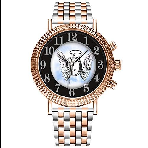 rren-Armbanduhr Analog Quarz Edelstahl Mit Gold 203.Angel Wings und Halo Monogram schreiben die Wrist Uhren ()