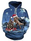 Leapparel Felpa Cappuccio Donna 3D Stampata Sportive Natale Dinosauro Manica Lunga Pullover Hoodie Sweatshirt Blu L