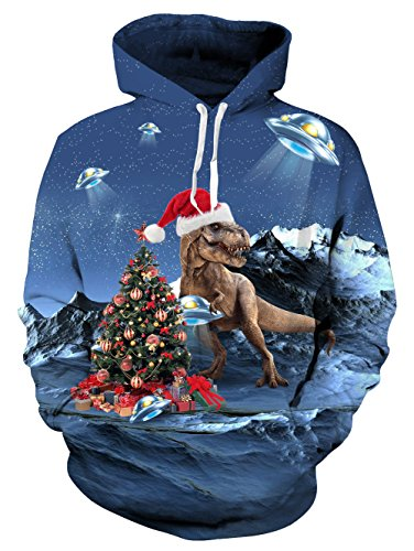 Hop Ugly Weihnachten Xmas Geschenk Dinosaurier 3D Printed Hoodie Realistische Sweatjacke Damen XL blau (Dinosaurier Weihnachten)