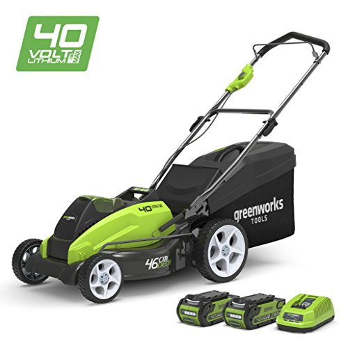 Greenworks Tondeuse à gazon sans fil sur batterie 45cm 40V Lithium-ion avec 2 batteries...