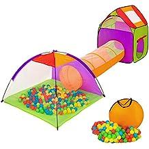 TecTake Tenda Igloo per bambini con tunnel + 200 palline + tenda tascabile – Tenda da gioco con palline per bambino