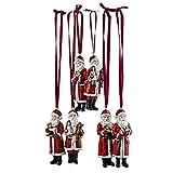 Loberon Weihnachtsmann 6er Set Corvin, Weihnachten, Weihnachtsfigur, Polyresin, H/B/T ca. 11/4 / 3 cm, rot