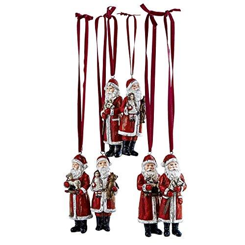 Loberon Weihnachtsmann 6er Set Corvin, Polyresin, H/B/T 11/4 / 3 cm, rot -