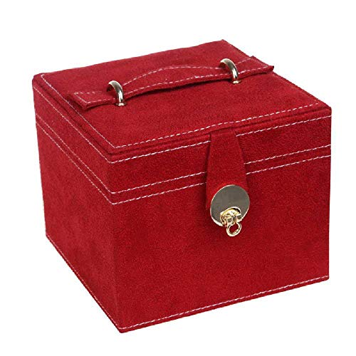 MittyL Schmuckstück, Puderdose, 3-Fach-Schmuckstück, Prinzessin, Europäische Kassette, Koreanisches Geschenk. Dunkelrot Europäische Fach