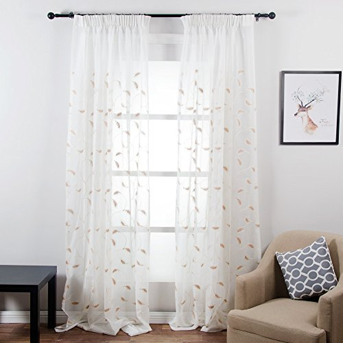 Top Finel Embroidered Leaves Window Voile Net Curtain Lined Sheer Curtain Panels For Living Room Bedroom,54-inch Width X 84-inch Drop,Pencil Pleat,1 Pair,Brown