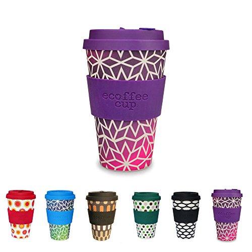 Farbenfroher Cafe to go Becher von Kaufdichgrün I Mehrweg Kaffeebecher mit Deckel aus Silikon und Silikonmanschette, spülmaschinenfest BPA frei I Kaffee Trinkbecher Stargrape 400 ml