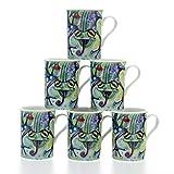 Allen Design - Juego de 6 Tazas de Porcelana, diseño de Rana