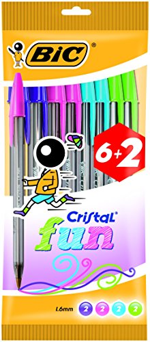 BIC Cristal Fun - Pack de 6+2 bolígrafos, colores fashion