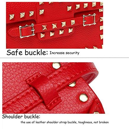Ladies Liu Nail Piccola Borsa Quadrata Leisure Fashion Personality Shoulder Diagonal Borsa Red