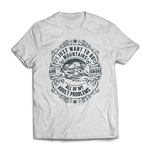 Camisetas Hombre Solo Quiero IR a Las Montañas: Regalo Increíble, Invierno, Vacaciones de Verano, Lemas de Viajes (XXX-Large Blanco Multicolor)