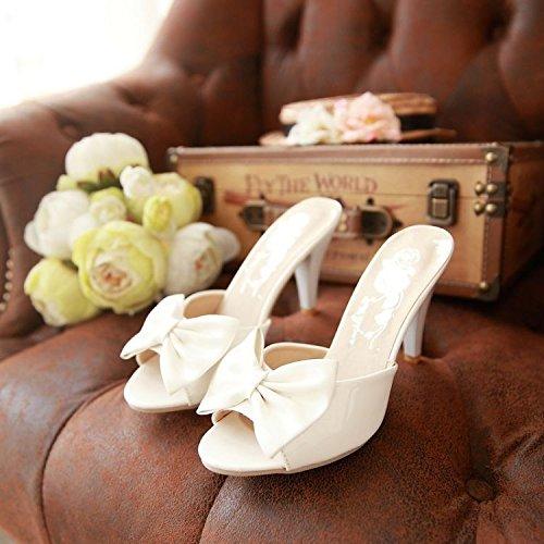 ZYUSHIZ Bow Tie ist Hausschuhe High-Heel Schlitz, Sandalen, Hausschuhe Weiß