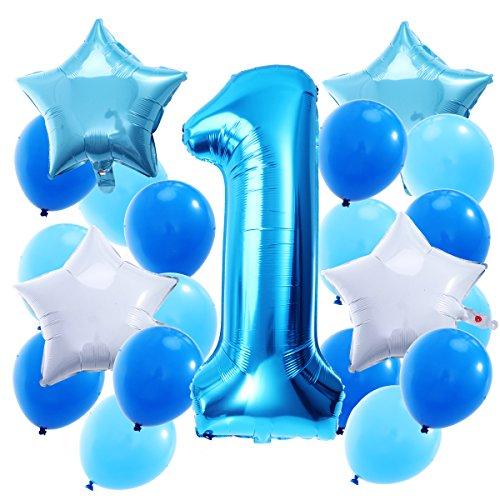 TOYMYTOY Zahlen 1. Deko Ballons helium Folienballon Geburtstag Junge Latexballon für Baby-Duschen Geburtstag Jubiläum 21pcs