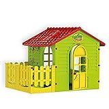 Spielhaus für drinnen und draußen mit Zaun, Gartenhaus Kind