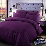 CLICKTOSTYLE BERRY COLOUR EGYPTIAN COTTON T300 DUVET COVER WITH PILLOW CASES SATEEN STRIPE BEDDIGNS SUPER KING SIZE