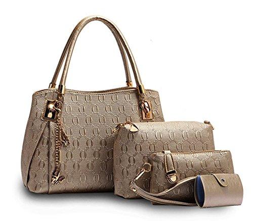 Tibes stilvolle damen Faux leder geldbeutel 4pcs gesetzt Handtasche Golden (Faux-leder-handtasche Geldbörse Tasche)