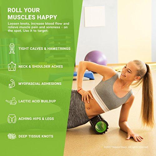 Supportiback Faszienrolle zur Schmerztherapie - Schaumstoffrolle & Massagerolle mit Druckpunkten zur Tiefenmassage - Gymnastikrolle & Fitnessrolle zur Selbstmassage gegen chronische Verspannungen