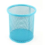 #5: Round Mesh Pen Stand Metal Pen Pencil Tool Holder, Table Desk Organizer For Home And Office. (Blue)