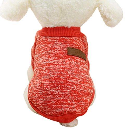 Ularma Kleine Haustier Hund Pullover Soft Bequem Sweatshirt 8 Farben für Teddy Mops Bulldogge (XL, Rot) (Stretch-teddy Rote)
