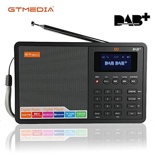 Digitalradio DAB+/UKW Radio Bluetooth Wecker Sleep Timer TF Karte USB Aufladen AUX-in Stereo Tragbar Lautsprecher MP3 Player FM RDS Transmitter mit 1.8
