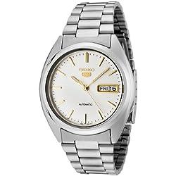 Seiko SNXG47K 5 Gent's Automatic Watch Analogue Watch-White Face-Grey Steel Bracelet