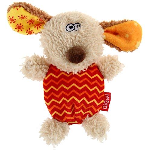 GiGwi 6222 Hundespielzeug Plush Friendz Hund aus Plüsch mit austauschbarem Quietscher, für kleine Hunde, beige / rot (Cool Hund Spielzeug)