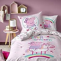 Peppa Pig Unicorn Parure de Couette 100% Coton, Rose Poudre, 140 x 200/63 x 63 cm - Taille française