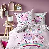 Peppa Pig Unicorn Parure de Couette, 100% Coton, Rose Poudre, 140 x 200/63 x 63 cm -...