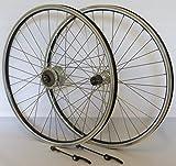 Vuelta 26 Zoll Fahrrad Laufradsatz REFLEX Hohlkammerfelge schwarz Shimano Dynamo DHC30003/TX500 mit Schnellspanner silber Niro silber