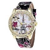 ?? Clode ??Diamond inserire Torre Eiffel a Parigi orologio da polso donna stampa orologio da polso