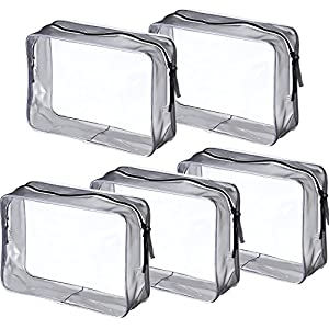 5 Pack Clear PVC Zippered Toiletry Carry Pouch Portable Cosmetic Makeup Bag for Vacation, Bathroom and Organizing (Large, Transparent)