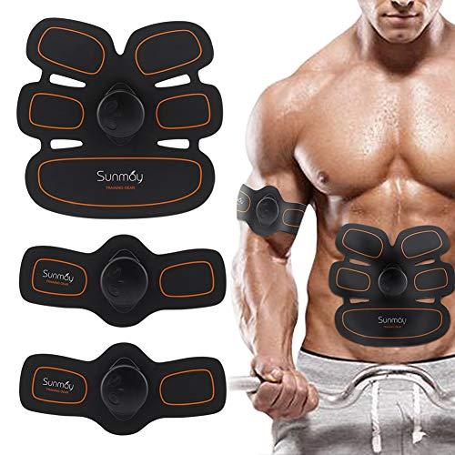 SUNMAY Electrostimulador Muscular Abdominal con Cinturones de Soporte, Abs Trainer EMS de Tono Abdominal, Body Fitness para Mujeres y Hombre
