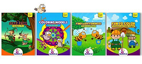 Activity Books For Kid's Age 6+ Pack Of 4 Activity Coloring Books Include Find The Difference, Fun 2 Color, Star 2 Star, And Coloring Models - Jumbo Size Book by Bookid Toys