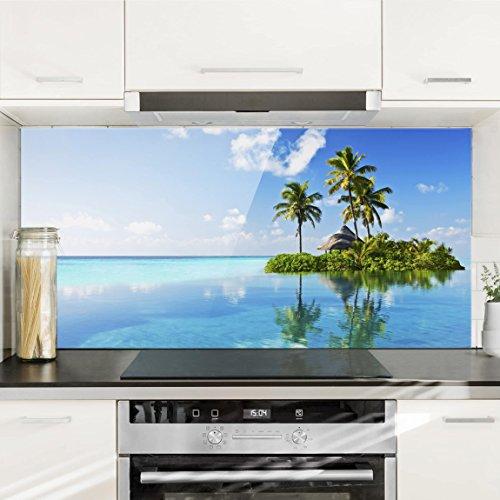 bilderwelten cr dence en verre tropical paradise paysage 1 2 peinture murale revetement. Black Bedroom Furniture Sets. Home Design Ideas