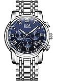 Sport Herren Japanisches QuarzwerK Uhr mit schwarzem Zifferblatt Chronograph Display und Edelstahl-Armband (blau)