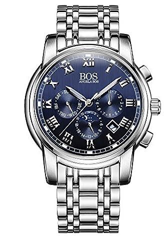 Sport Herren Japanisches QuarzwerK Uhr mit schwarzem Zifferblatt Chronograph Display und Edelstahl-Armband (Chronograph Metal-band)