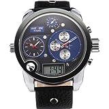 Weide Oversize 3 Time Zones Black Blue Dial Mens Leather Sport Sba Quartz Watch
