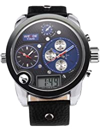 Weide Grande Reloj Deportivo de Pulsera Cuera,3 Zona Mundial Xxl Hombres Caballeros Sba Dial Negro Azul de Cuarzo