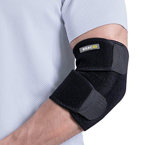 BRACOO Ellenbogenbandage mit Stabilisatoren – Ellenbogenorthese – Gelenkschiene | atmungsaktive Ellenbogenschiene mit Klettverschluss für extra Halt Test