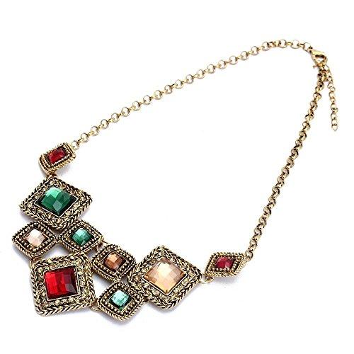 SODIAL (R) La Mujer Collar Gargantilla Corto aleacion de bronce diamante de imitacion rombica Moda colorida