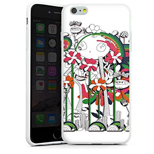 Apple iPhone X Silikon Hülle Case Schutzhülle Fantasie Blumen Traumwelt Silikon Case weiß