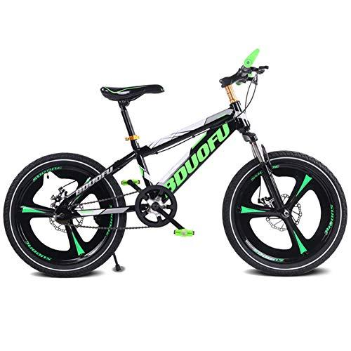 LHLCG 16/18/20 Zoll Kinder Mountainbike Doppelscheibenbremsen Dämpfung Single Speed   Integrierte Rad Fahrrad,Green,20inch -