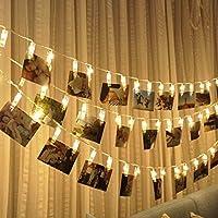 SUNNIOR 20 LED Photo Peg Clip String Light Party Wedding Decor(Warm White)