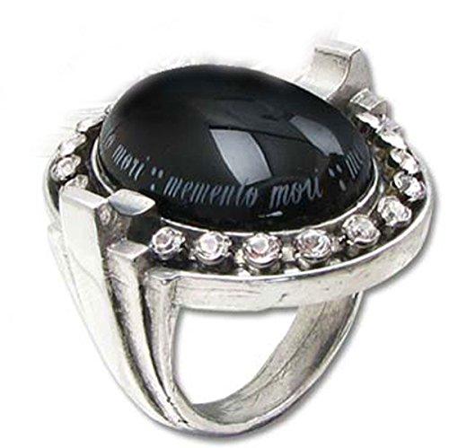 Alchemy Gothic Mori Noir Deco Gothique schwarz Cabochon Kristall Ring UK Größe Q (Alchemy Gothic Schädel Ring)