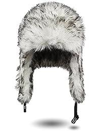 Warme Wintermütze / Fellmütze / Pilotenmütze von normani® in Grau