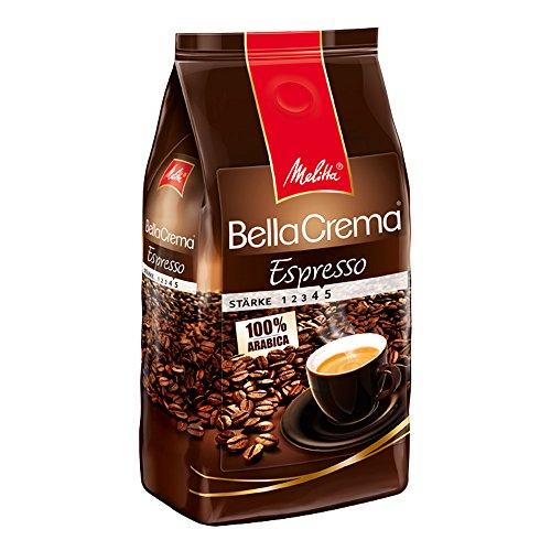 Produktbild Melitta Ganze Kaffeebohnen, 100% Arabica, reiches Aroma, intensiv-würziger Geschmack, kräftiger Röstgrad, Stärke 4 bis 5, BellaCrema Espresso, 1000g